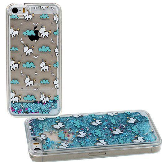 Coque Apple iPhone 5 5S SE Mignonne Dessin animé Licorne Motif Transparent Rigide Dur Housse Etui de Protection Eau Liquide Style Flottant Poudre Glitter Case Anti choc