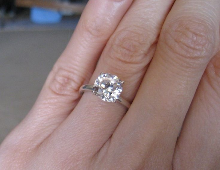2 Carat Diamond Engagement Ring On Hand