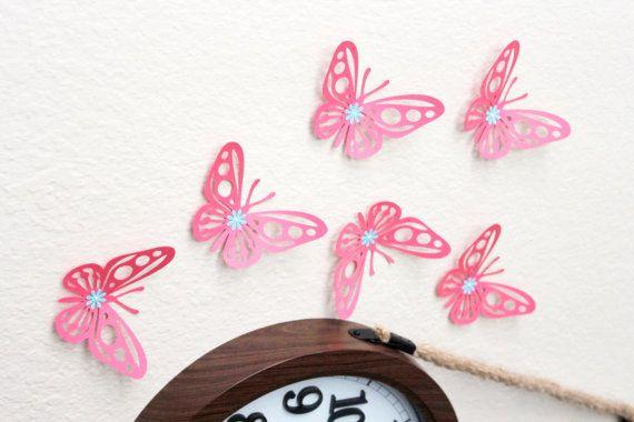 Coral Nursery decor - 3d butterfly wall art - Butterfly wall decor - coral decorations - baby girl wall art - wall decor for nursery