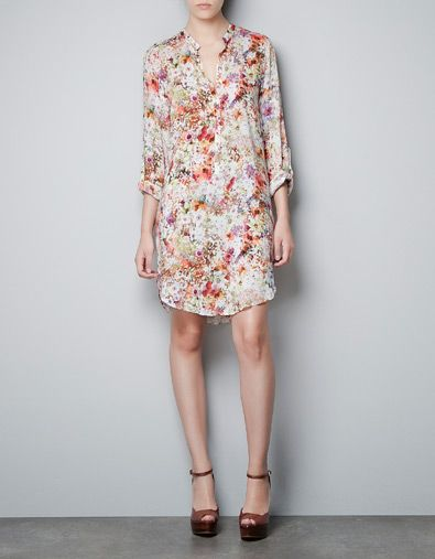 PRINTED TUNIC WITH MAO COLLAR - Dresses - Woman - ZARA Denmark