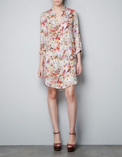 PRINTED TUNIC WITH MAO COLLAR - Dresses - Woman - ZARA Denmark