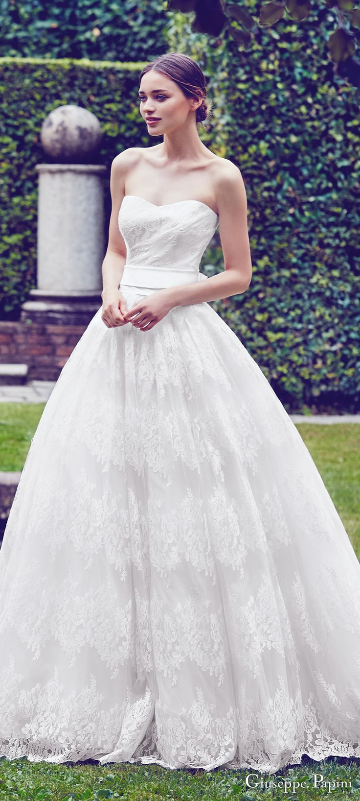 giuseppe papini 2017 (taormina) strapless sweetheart lace ball gown wedding dress zv