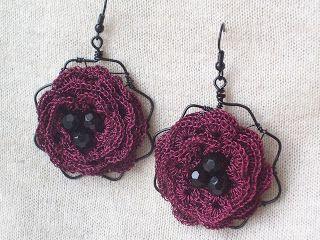 """Outstanding Crochet: Crochet earrings """"Dark Roses"""""""
