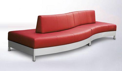 Sofá moderno / de acero inoxidable / de cuero / para edificio público QUADRO…