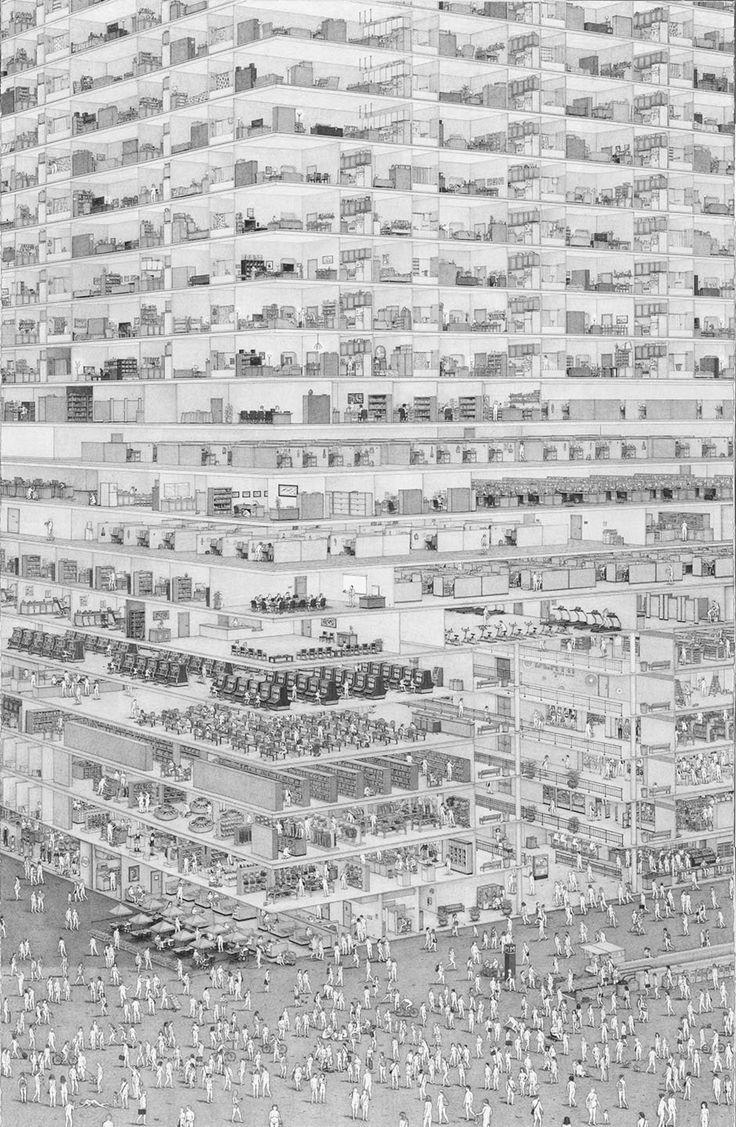 Washington D.C. Artist Ben Tolman Creates Intricate, Dark Drawings About Cities, Suburbia, and the Built Environment - CityLab