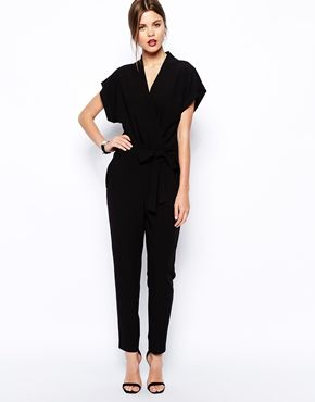 ASOS Jumpsuit With Tie Waist And Short Sleeves $95.27
