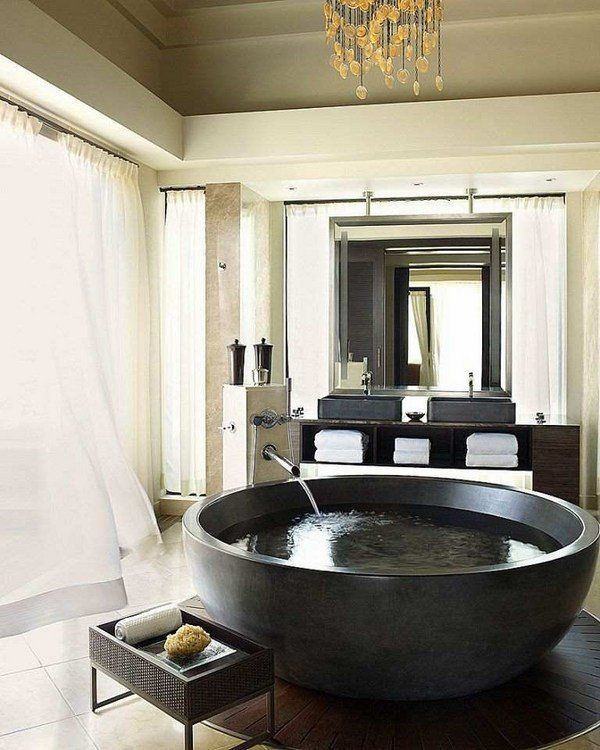 Amazing Spectacular Large Bathtubs Round Tub Granite Luxury Bathroom Interior  Modern Vanity
