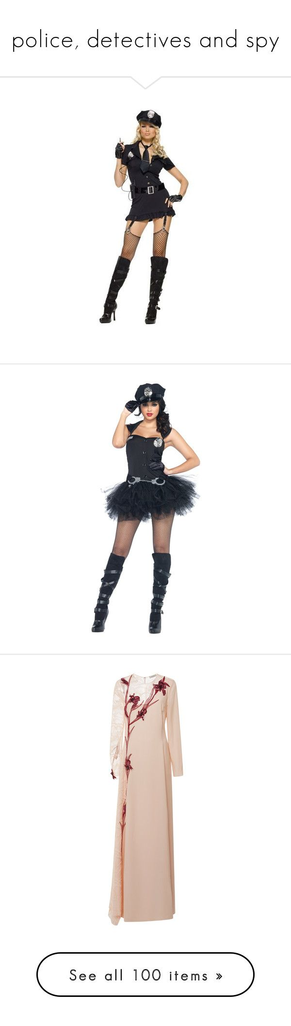 """""""police, detectives and spy"""" by hogwartsdragoness ❤ liked on Polyvore featuring costumes, costume, halloween costumes, police officer costume, sexy halloween costumes, sexy police officer halloween costume, cop halloween costume, sexy black costume, sexy cop halloween costume and police woman costume"""