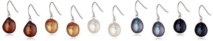 Honora Sterling Silver Lynx Set of 5 Baroque Drop Earrings. Sterling silver fish hook backs. Carat weight listed is the total for all stones. The natural properties and process of pearl formation define the unique beauty of each pearl. The image may show slight differences in texture, color, size, and shape.