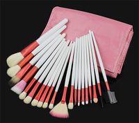 Venta caliente 20pcs maquillaje profesional pinceles de pelo de cabra Maquillaje juego de brochas 20 PC cepillos con Pink bolsa bolsa de cosméticos herramientas del Kit