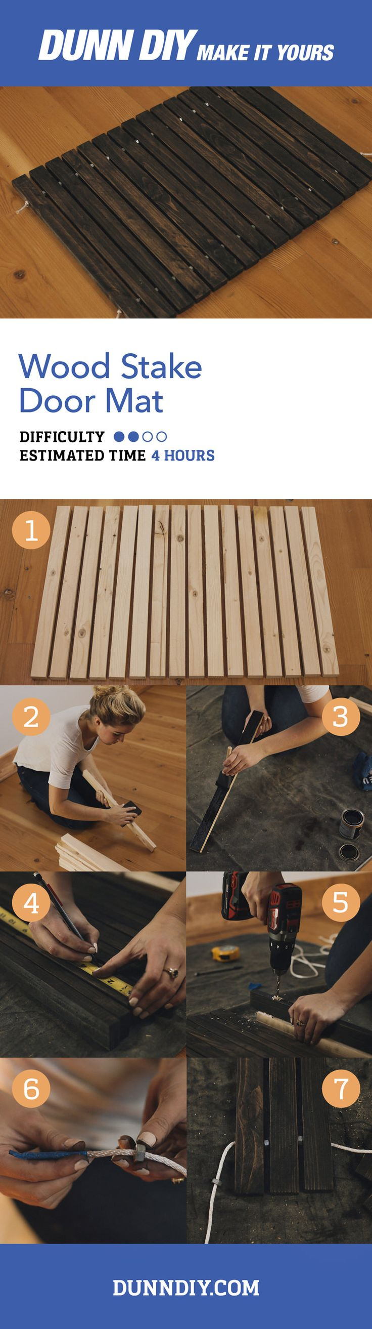 Keep the rain, mud, and muck out of your home in style with this wood stake door mat. Visit DunnDIY.com for step-by-step instructions.