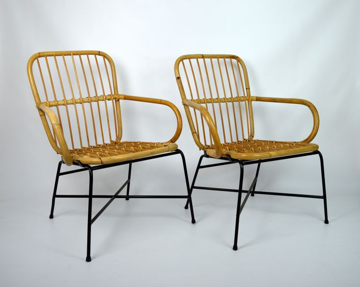 Para krzeseł bambusowych | A pair of bamboo chairs | buy on Patyna.pl #chairs #bamboo #wooden #pair #furniture #light #retro #vintage #70s #1970s #inspiration #home #ThinkModern