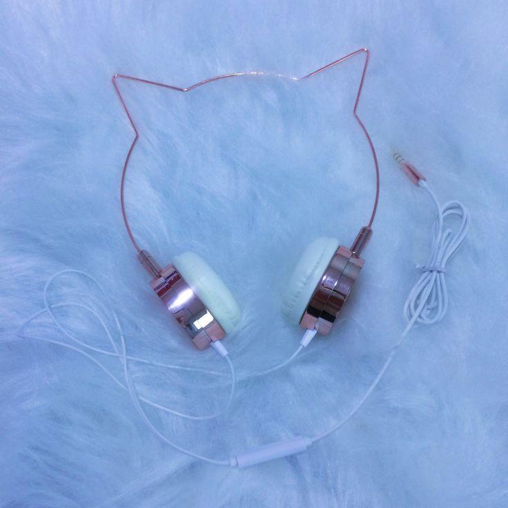 Fone de ouvido gatinho rosé!! Headphone!!
