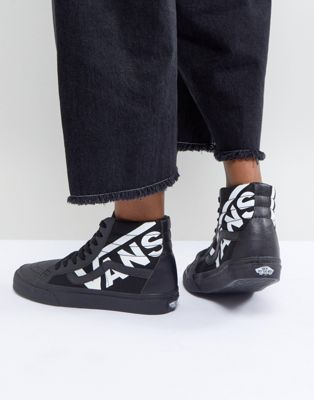 cf3f733f3199 Vans Sk8-Hi Sneakers In Black With Large Logo
