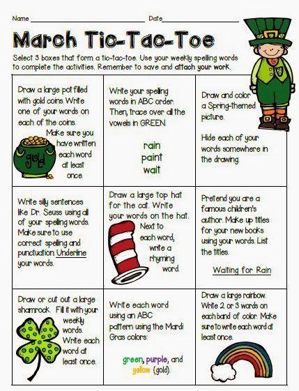 ideas for spelling homework