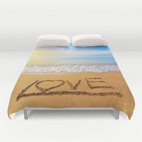 Beach Sunset Love Duvet Cover - Cover yourself in creativity with our ultra soft microfiber duvet covers. Hand sewn and meticulously crafted, these lightweight duvet covers vividly feature your favorite designs with a soft white reverse side. A durable and hidden zipper offers simple assembly for easy care - machine washable with cold water on gentle cycle with mild detergent. Available for King, Queen and Full duvets - duvet insert not included