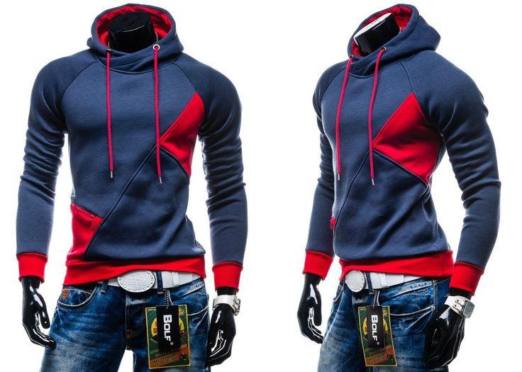 BOLF 3411- CZERWONY CZERWONY | On Bluzy męskie Bluzy z kapturem | Denley - Odzieżowy Sklep internetowy | Odzież | Ubrania | Płaszcze | Kurtki