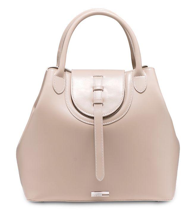 Handbag dalle linee rigorose in pelle. Modello Campanula by Caleidos