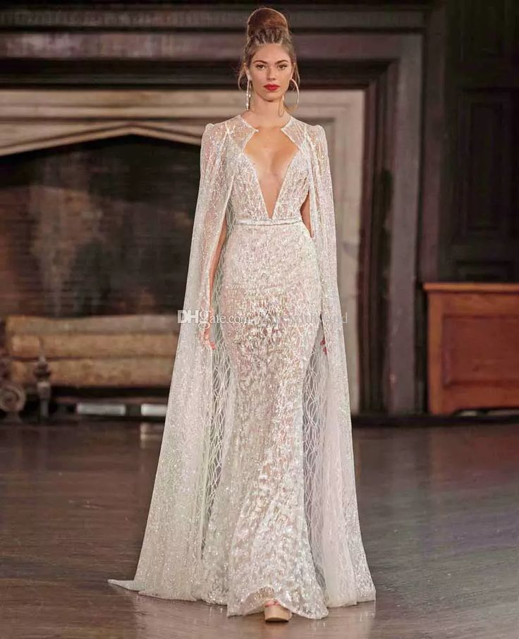 Sexy Mermaid Lace Wedding Dresses With Cape 2017 Berta Bridal Spagetti Strap Deep V Neck Full Embellishment Sweep Train Beach Wedding Dress Beautiful Wedding Dresses From Gonewithwind, $2010.06| Dhgate.Com