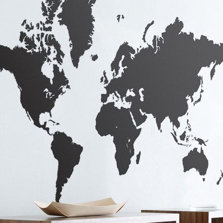 Accent your master suite or living room seating group with this eye-catching wall sticker, featuring a world map motif.   Product: