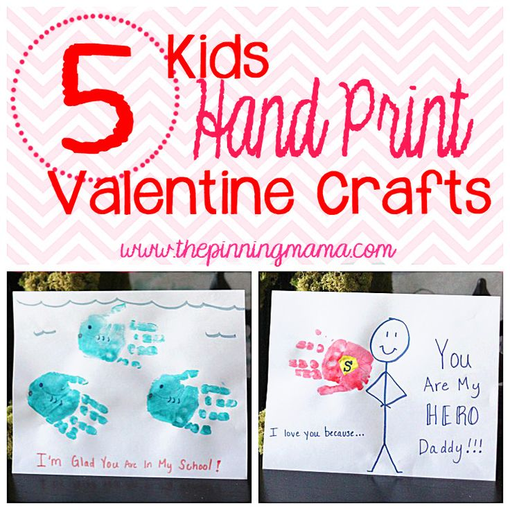 Absolutely adorable Valentines Day ideas!  Kids Hand Print Valentine Ideas - Click here to see all! #valentinesday #kids #handprint #crafts