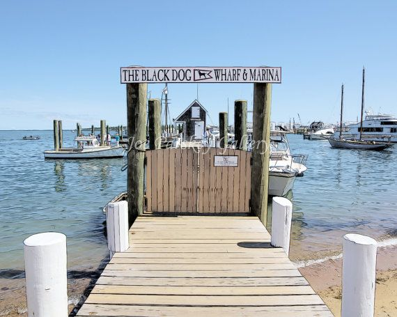 Black Dog Wharf and Marina at Vineyard Haven by JoeParskeyGallery, matted photo art.  I used several layered filter effects to create this piece!