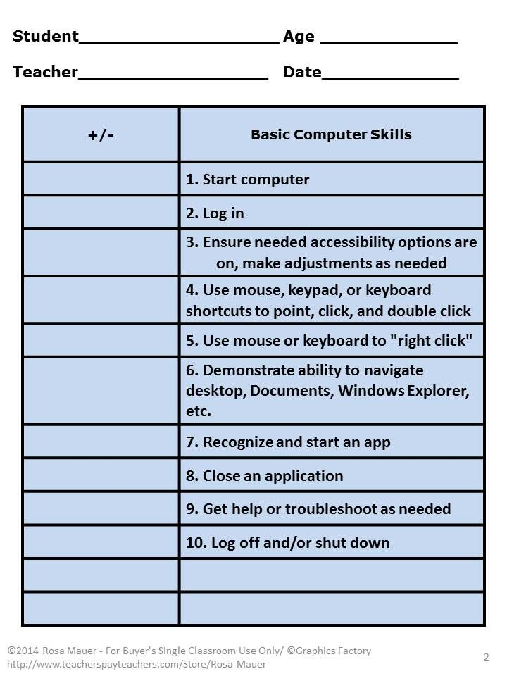 Technology: Technology skills checklist can help you to know where to start with students. Use this computer assessment tool to screen for basic computer skills, word processing skills, Internet basics, and E-mail skills.