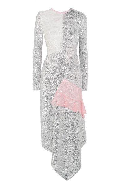 Preen by Thornton Bregazzi - Meda Silk Chiffon-trimmed Sequined Stretch-jersey Midi Dress - Silver -