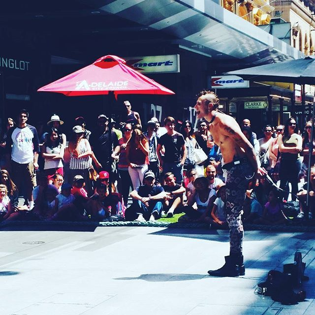 Saturday Street Theatre sword swallowing with Samora Squid #adlfringe