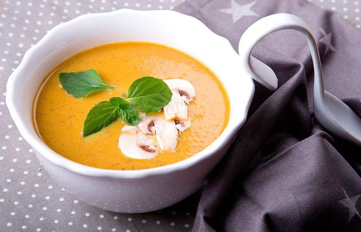 Σούπα κρέμα κολοκύθας με μανιτάρια και τζίντζερ