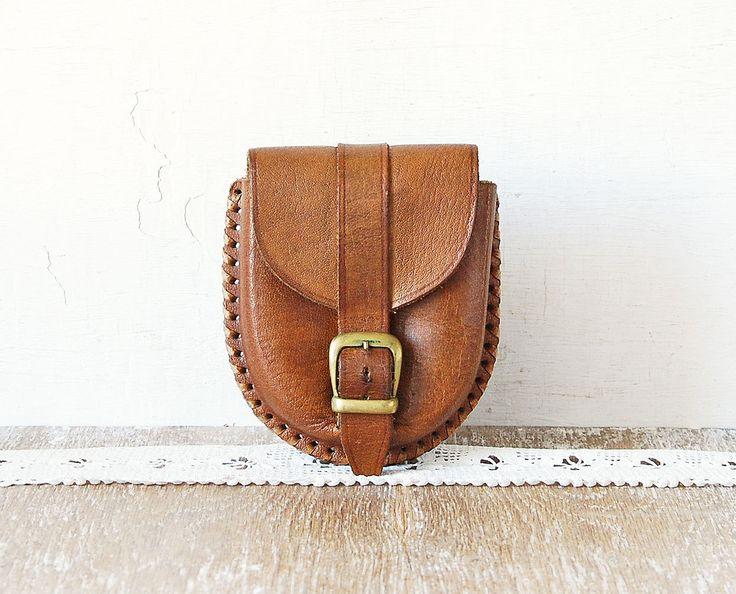 Kleine Leather heuptas bruin lederen riem tas voor mannen op enkelvoud