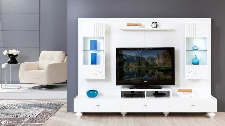 modern beyaz duvar ünitesi mobilya modeli