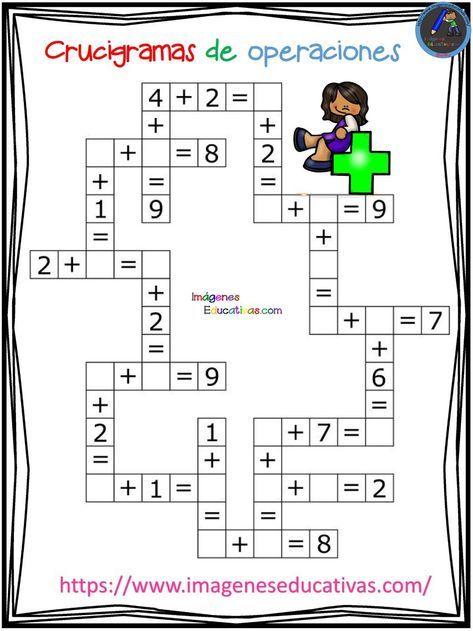 Crucigramas de operaciones sencillas - Imagenes Educativas 089782301c2