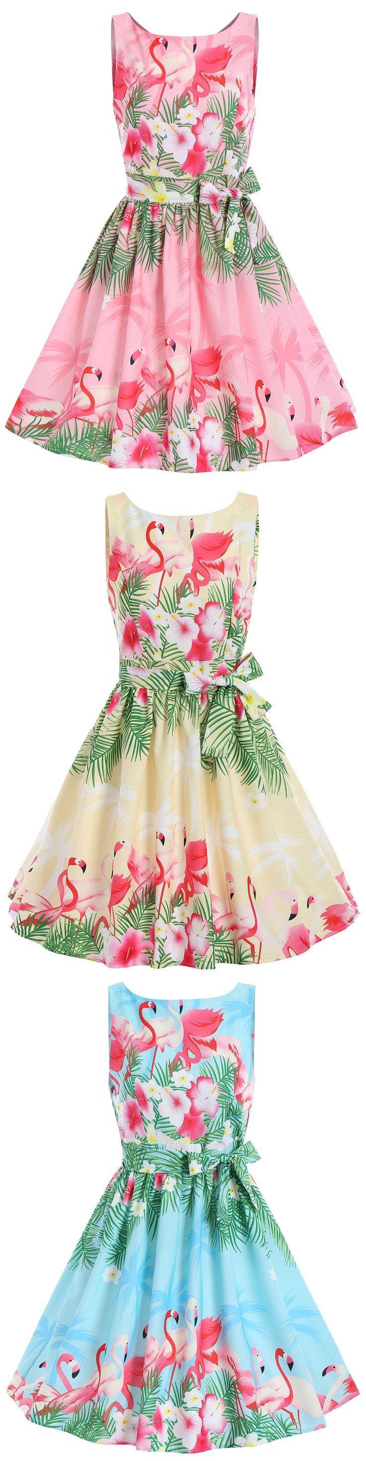 Swan Print Summer A Line Vintage Dress