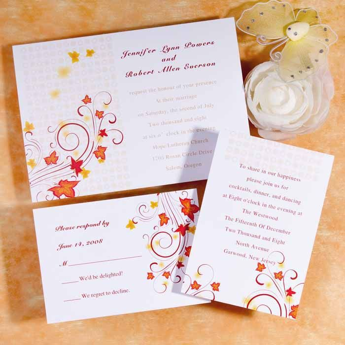 warm orange swirls and maple leaves wedding invitations iwi006