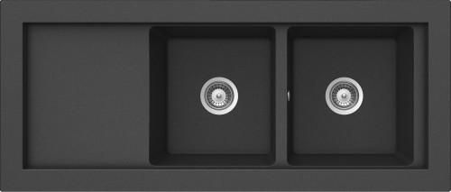 DOMD200-O - Kjøkkenvask i granittmaterialet Cristalite med 2 kummer og avrenningsfelt | KVANDAL