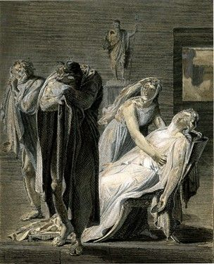 Death of Phaedra, seated on a chair and agonizing, a servant supporting her head whilst addressing Theseus, who turns away from them and buries his head in his arms; working proof touched by Velyn; after Girodet; illustration to 'Phèdre', Act V scene 7; illustration to the second edition of 'Oeuvres complètes de Jean Racine' (Paris by Didot: 1816).  c.1816 Etching touched with white