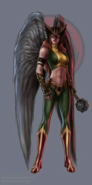 HAWK WOMAN; Belt/harness containing Nth metal that defies gravity, with artificial wings allowing powered flight, enhanced strength, vision, accuracy and quickness, use of energy powered ancient weapons, and communicates with birds.  Being a police detective on her home planet, Shayera Thal brings significant forensic skill to the team.