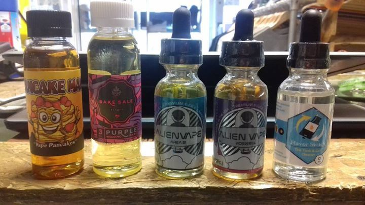 New E-liquids are in!  (Left to Right): Pancake Man 60ml Purple Wedding Cake 60ml Alien Area 51 30ml Alien Roswell 30ml Flavour Switch 30ml (cleaning fluid that gets rid of the taste of liquids from coils and tanks Come and visit us instore or you can buy online at: www.rad-apparel.com #420skatestore #420 #vape #vaping #vapelifestyle #vapenation #vapelife #radapparel #uk #england #ejuice #vapejuice #ecigjuice #ecigjunkie #30ml #60ml #oxford #uk #pancakeman #bakesaleeliquid #alien #ecovape…