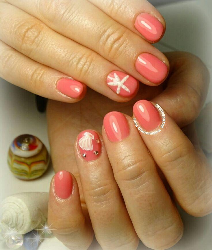 #маникюр #дизайн_ногтей #морская_звезда #ракушка #объемный_дизайн #идеальные_блики