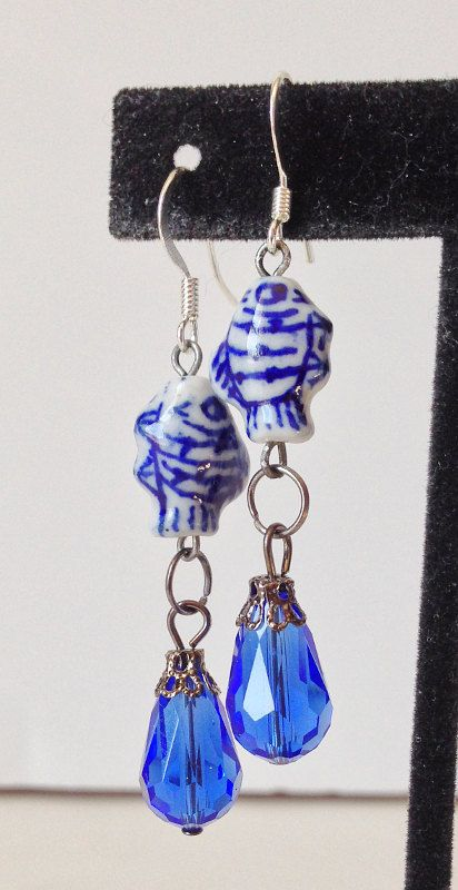 China Blue Fish Earrings Bead Dangle Nautical by DustyRemnants