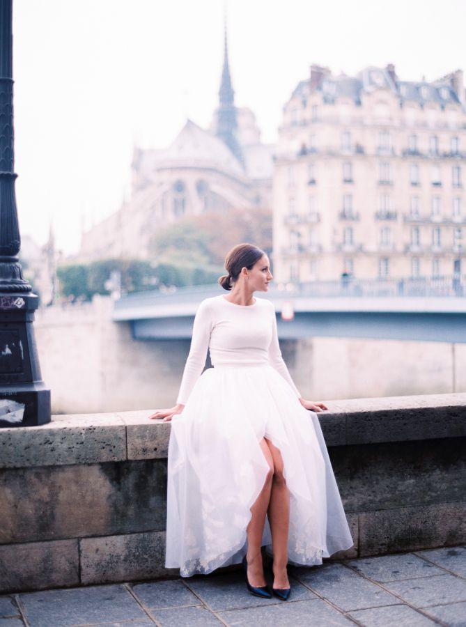Modern two-piece elopement dress: http://www.stylemepretty.com/destination-weddings/2015/12/24/winter-elopement-in-paris/ | Photography: Le Secret D'Audrey - http://lesecretdaudrey.com/