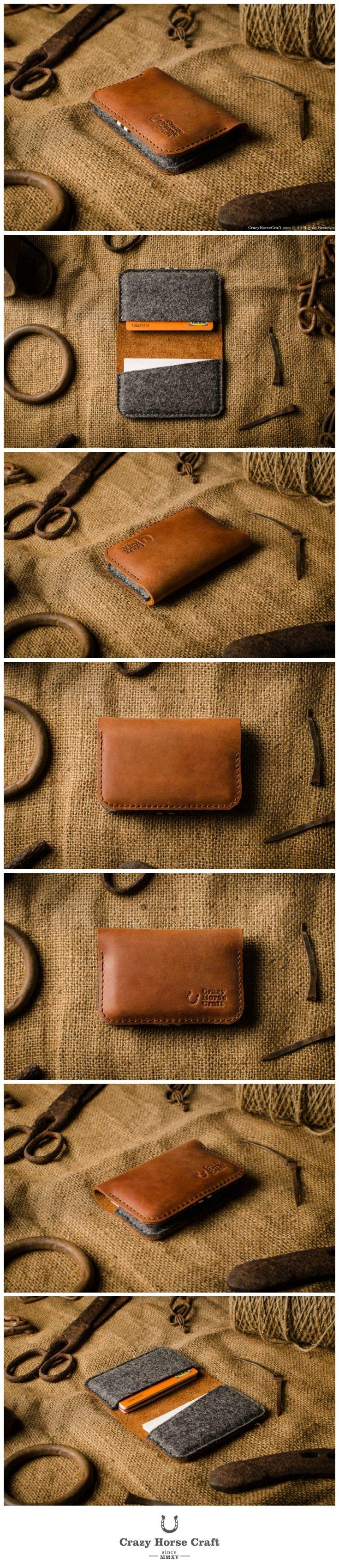 Leather Business & Credit Card Holder / Wallet | Classic Orange