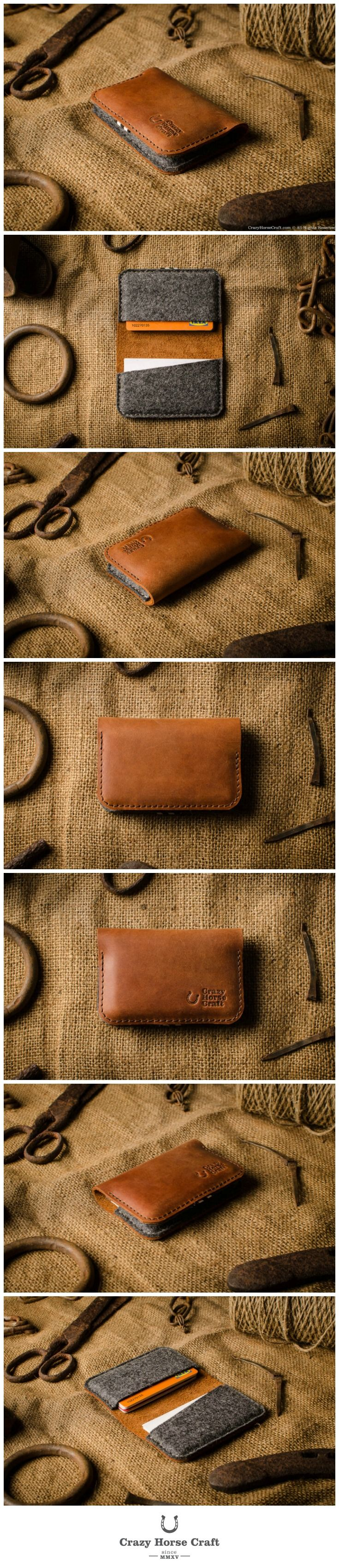 Leather Business & Credit Card Holder / Wallet | Classic Orange