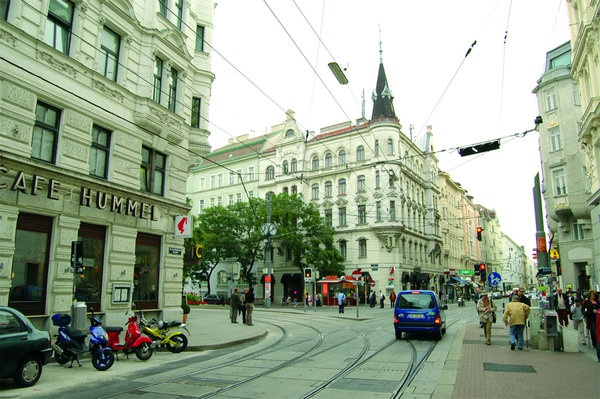 Josefstaedter Strasse in Josefstadt (8th d.), what is called a 'prime residential area'. I lived there for a while, a wonderful and authentic piece of Vienna.