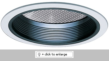 """7"""" Compact Fluorescent Horizontal Reflector with Regressed Prismatic Lens & Baffle Trim  Dimension: 7 1/2"""" O.D."""