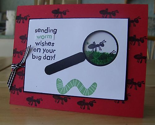 Bug finder card-Love the magnifying glass.  Wonder who has Bugs & Kisses I can borrow for a couple of these cards?