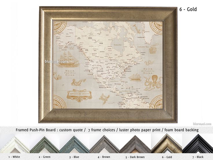Elite framed push pin board personalized with your name: Vintage North America map with sea monsters and sail ships #BohoChicDecor #CanadianMapPushPinBoard #CorkBoardBacking #AnniversaryGift #AnniversaryGiftIdea #brown #boho #adventure #BohoChic #ClassicDecorIdea