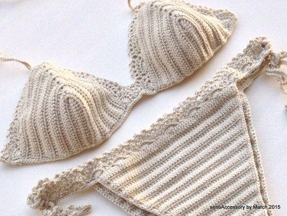 Beige Women Swimwear Crochet Bikini Summer Wear by senoAccessory ☆