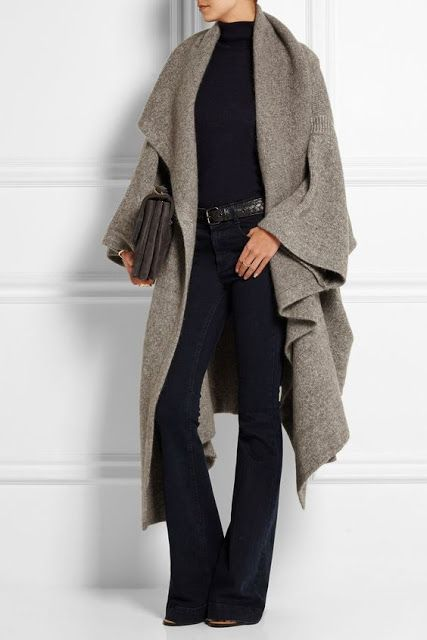 Designer fashion | Donna Karan grey fold cardigan and flared pants